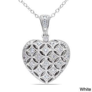 Haylee Jewels Silver 1/6ct TDW Diamond Heart Locket Necklace (H-I, I2-I3)