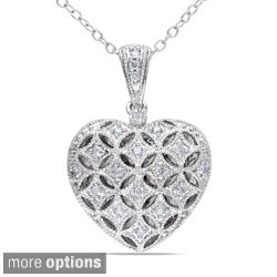 Miadora Silver 1/6ct TDW Diamond Heart Locket Necklace (H-I, I2-I3)