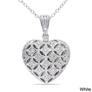 M by Miadora Silver 1/6ct TDW Diamond Heart Locket Necklace (H-I, I2-I3)