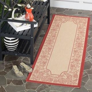 Safavieh Indoor/ Outdoor Courtyard Natural/ Red Rug (2'3 x 14')