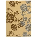 Safavieh Indoor/ Outdoor Courtyard Natural Brown/ Blue Floral Rug (8' x 11')