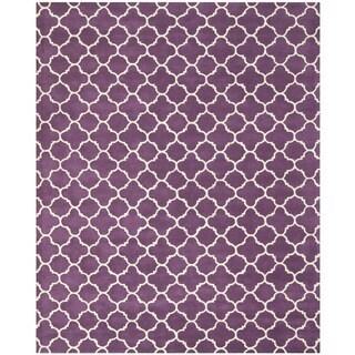 Safavieh Handmade Moroccan Chatham Purple/ Ivory Wool Rug (10' x 14')