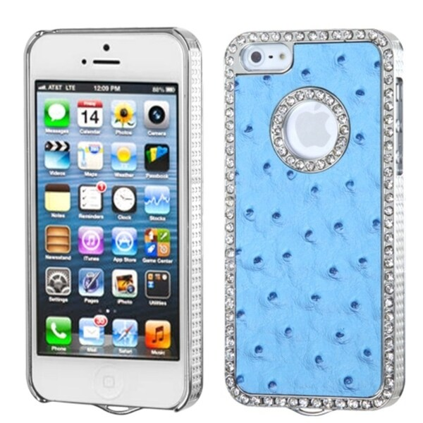 BasAcc Sky Blue/ Silver Diamond Ostrich Case for Apple iPhone 5