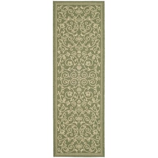 Safavieh Indoor/ Outdoor Courtyard Olive/ Natural Rug (2'4 x 14')