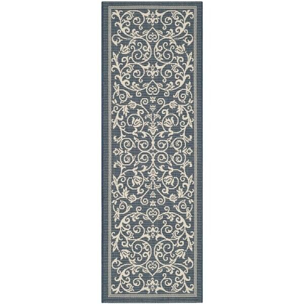 Safavieh Floral Indoor/Outdoor Courtyard Navy/Beige Rug (2'3 x 6'7)