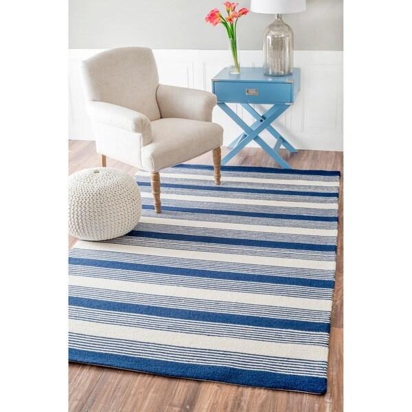nuLOOM Handmade Stripes Blue Wool Runner (5' x 8')
