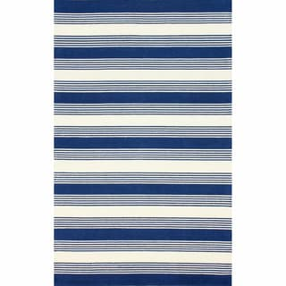 nuLOOM Handmade Stripes Blue Wool Rug (7'6 x 9'6)