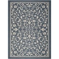 Safavieh Floral Indoor/Outdoor Courtyard Navy/Beige Rug (6'7 x 9'6)