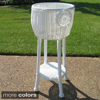 International Caravan Round Resin Wicker Plant Stand