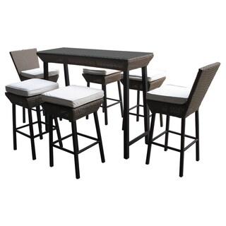 'Napa' 7-piece Espresso Outdoor Wicker Pub Table and Stools