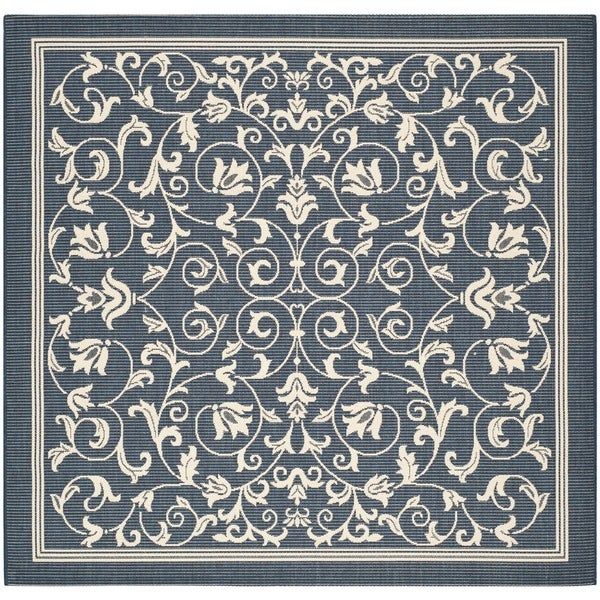 Safavieh Indoor/Outdoor Courtyard Navy/Beige Floral Rug (6'7 Square)