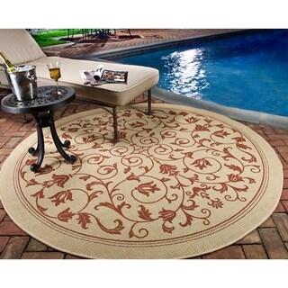 Safavieh Indoor/ Outdoor Courtyard Natural/ Terra Rug (7'10 Round)