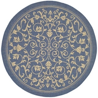 Safavieh Indoor/Outdoor Contemporary Courtyard Blue/Natural Rug (7'10 Round)