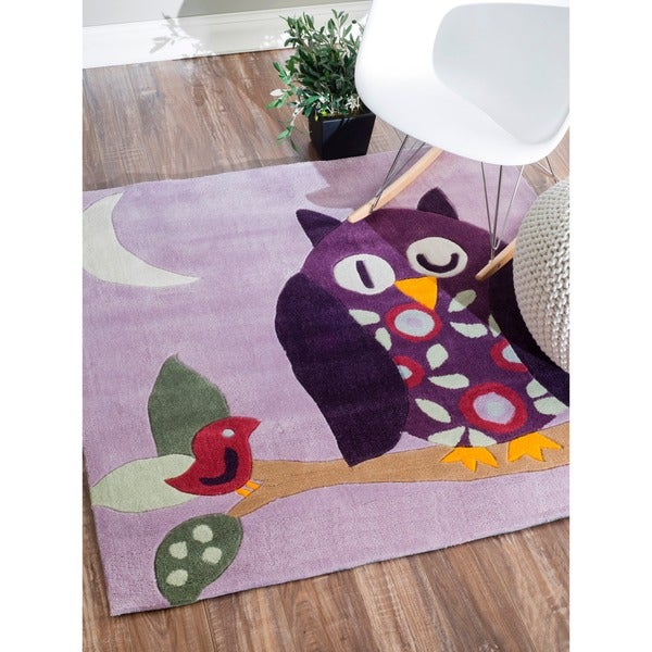 nuLOOM Handmade Kids Owl Purple Rug (4'3 Square)