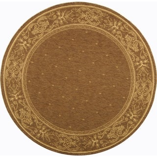 "Safavieh Indoor/Outdoor Courtyard Brown/Natural Polypropylene Area Rug (7'10"" Round)"
