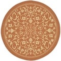 Safavieh Indoor/ Outdoor Courtyard Terracotta/ Natural Area Rug (7'10 Round)