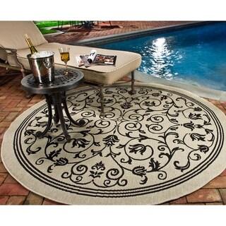 Safavieh Indoor/ Outdoor Courtyard Sand/ Black Rug (7'10 Round)