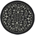 Safavieh Courtyard Indoor/ Outdoor Geometric-pattern Black/ Sand Rug (7'10 Round)
