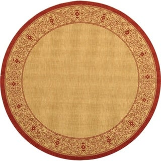 Safavieh Indoor/ Outdoor Courtyard Natural/ Red Rug (7'10 Round)