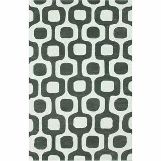 nuLOOM Handmade Trellis Charcoal Wool/ Cotton Rug (7'6 x 9'6)