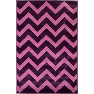 Hand-carved Chevron Contemporary Purple Area Rug (7'10 x 9'10)