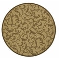 Safavieh Indoor/ Outdoor Courtyard Natural/ Brown Polypropylene Rug (7'10 Round)