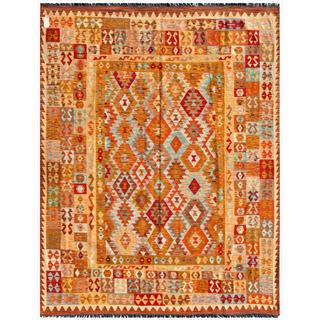 Afghan Hand-knotted Mimana Kilim Orange/ Brown Wool Rug (6'8 x 8'5)