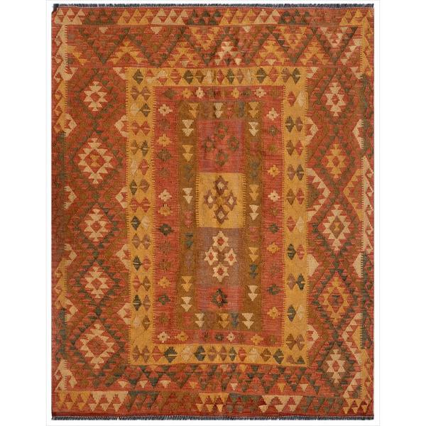Afghan Hand-knotted Mimana Kilim Red/ Brown Wool Rug (5' x 6'1)