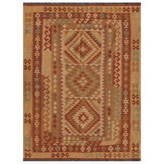 Afghan Hand-knotted Mimana Kilim Light Brown/ Ivory Wool Rug (5' x 6'6)