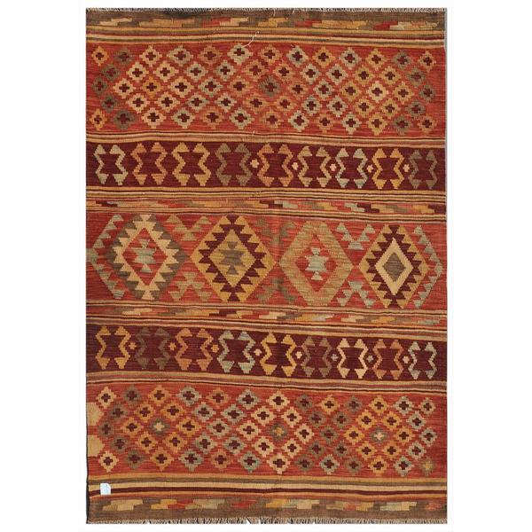 Afghan Hand-knotted Mimana Kilim Rust/ Burgundy Wool Rug (4'9 x 6'7)