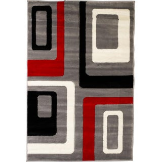 Hand-carved Geometric Squares Grey Area Rug (7'10 x 9'10)