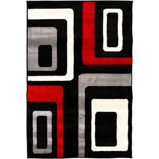 Hand-carved Geometric Squares Black/ Grey Area Rug (7'10 x 9'10)