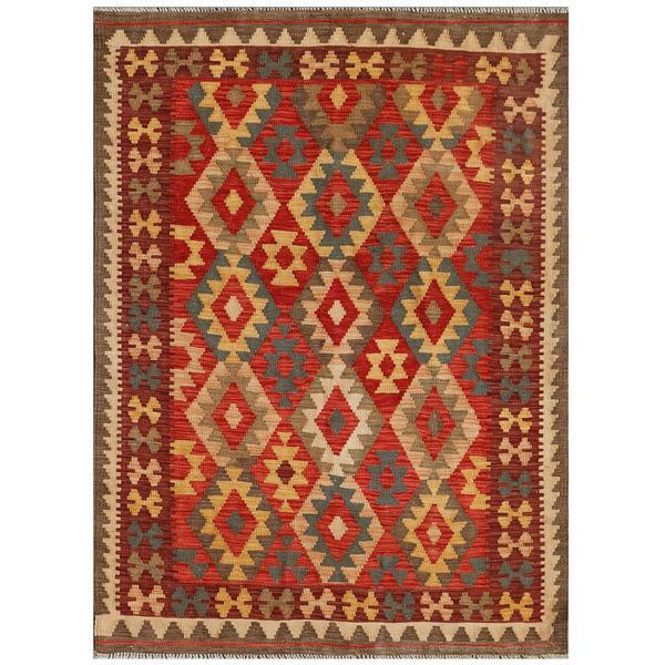 Afghan Hand-knotted Mimana Kilim Red/ Burgundy Wool Rug (4'3 x 5'8)