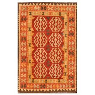 Afghan Hand-knotted Mimana Kilim Red/ Orange Wool Rug (4'1 x 6'4)