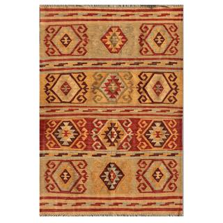Afghan Hand-knotted Mimana Kilim Red/ Grey Wool Rug (4' x 5'9)