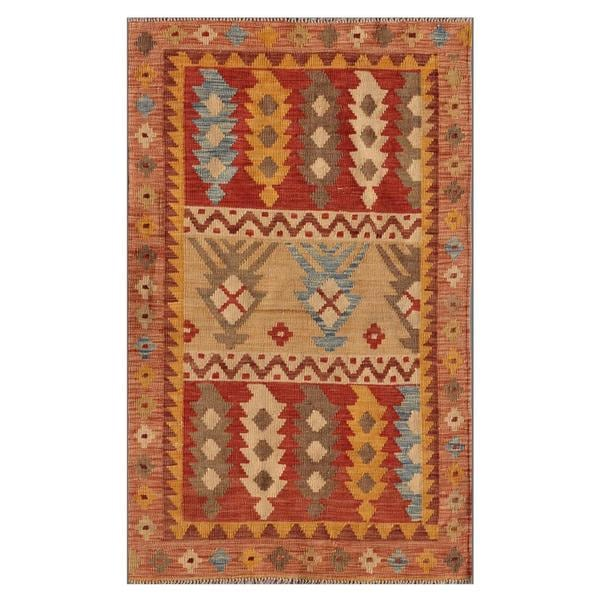 Afghan Hand-knotted Mimana Kilim Red/ Pink Wool Rug (3'1 x 5')