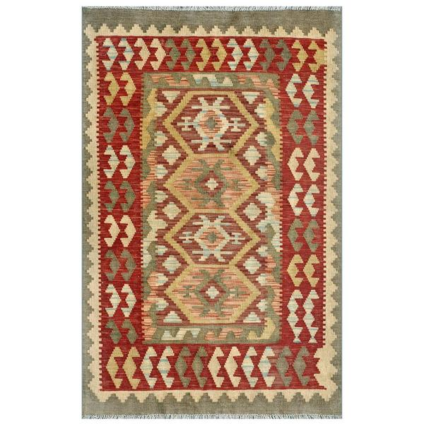 Afghan Hand-knotted Mimana Kilim Red/ Grey Wool Rug (3'3 x 5'1)