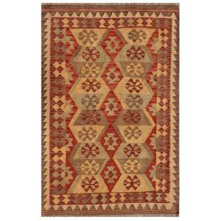 "Afghan Traditional Hand-Knotted Mimana Kilim Red/Ivory Wool Rug (3'2"" x 4'10"")"