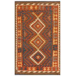 Afghan Hand-knotted Mimana Kilim Orange/ Ivory Wool Rug (3'1 x 5'1)