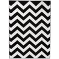 Hand-carved Chevron Contemporary Geometric Black and White Zigzag Stripe Area Rug (7'10 x 9'10)