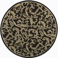 Safavieh Indoor/ Outdoor Courtyard Black/ Sand Rug (7'10 Round)