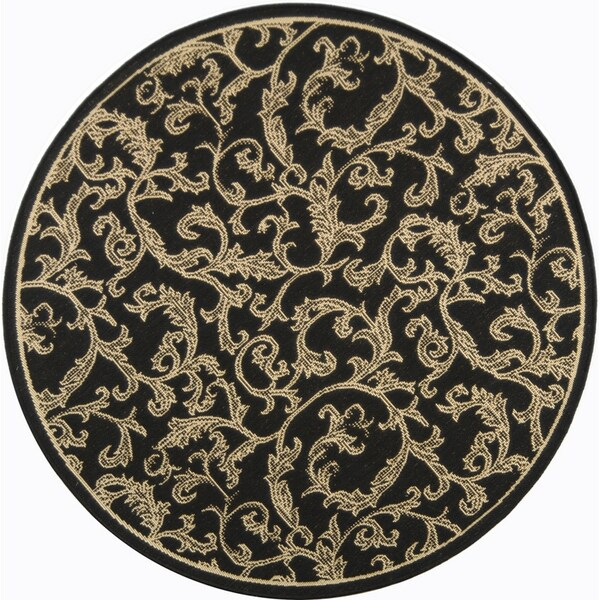 Safavieh Courtyard Indoor/ Outdoor Contemporary Black/ Sand Rug (7'10 Round)