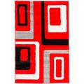 Hand-carved Geometric Squares Red Area Rug (7'10 x 9'10)