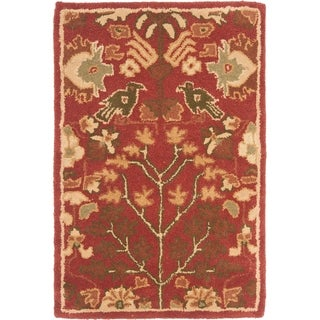 Safavieh Hand-made Heritage Red/ Green Wool Rug (3' x 5')
