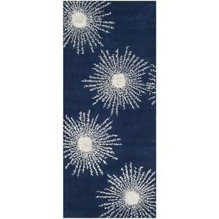 Safavieh Hand-made Soho Burst Dark Blue/ Ivory Wool Rug (2'6 x 10')