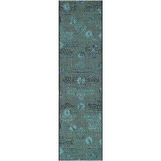 "Safavieh Palazzo Black/Turquoise Overdyed Chenille Accent Rug (2' x 3'6"")"