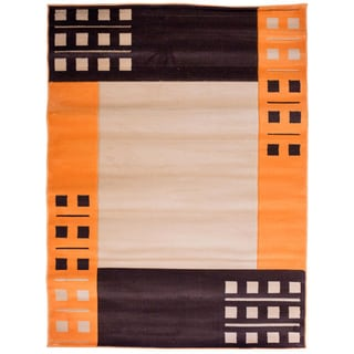 Hand-carved Border Contemporary Beige/ Orange Area Rug (7'10 x 9'10)