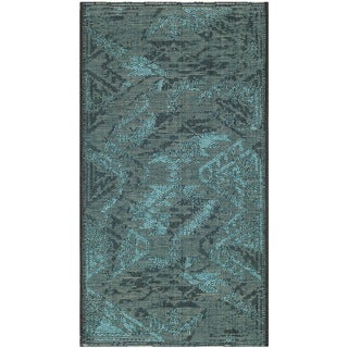 Safavieh Palazzo Black/ Turquoise Over-dyed Chenille Rug (2'6 x 5')
