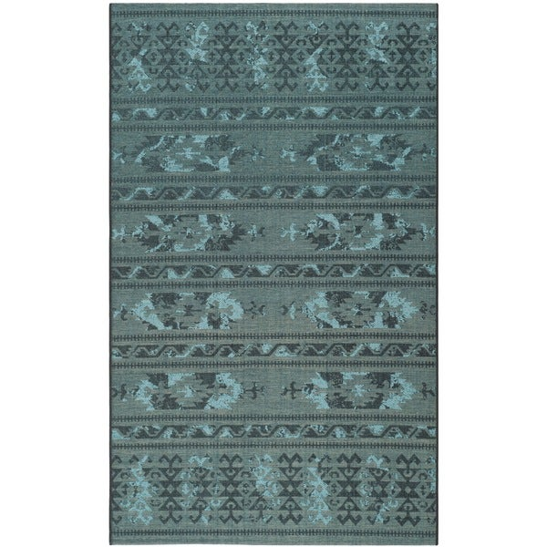 Safavieh Palazzo Black/Turquoise Over-Dyed Geometric Chenille Rug (8' x 11')
