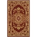 Safavieh Hand-made Naples Burgundy Wool Rug (5' x 8')